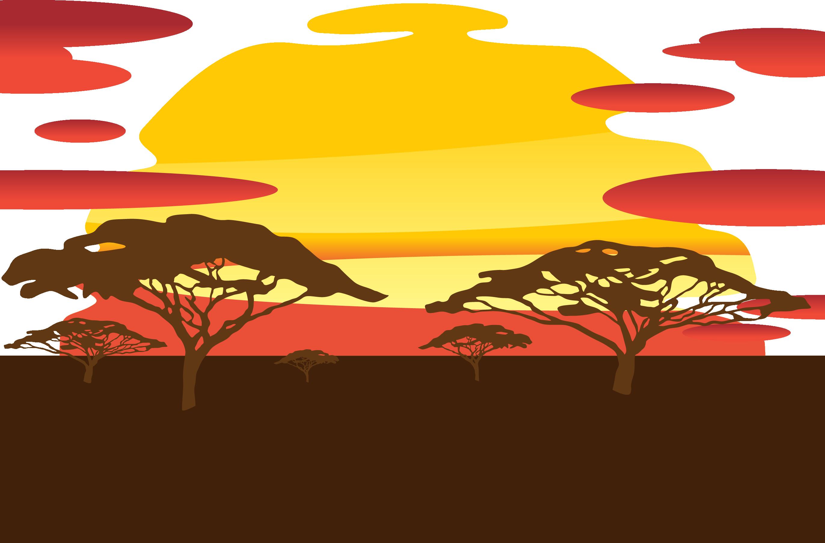 Sunset clipart sunset african. Silhouette sky grassland vector