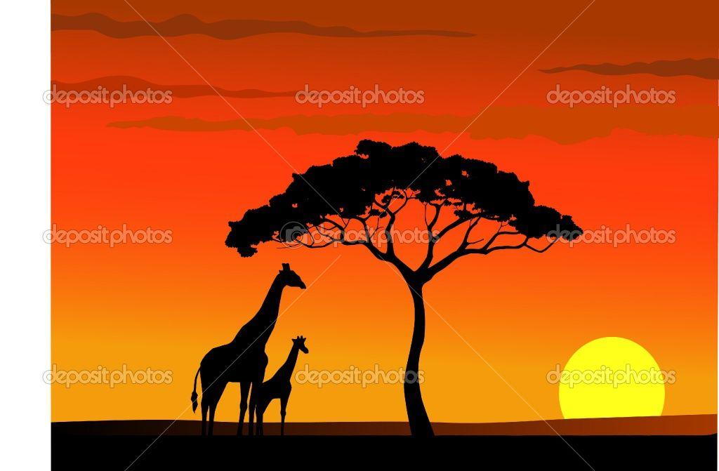 Animal silhouettes photos giraffe. Sunset clipart sunset african