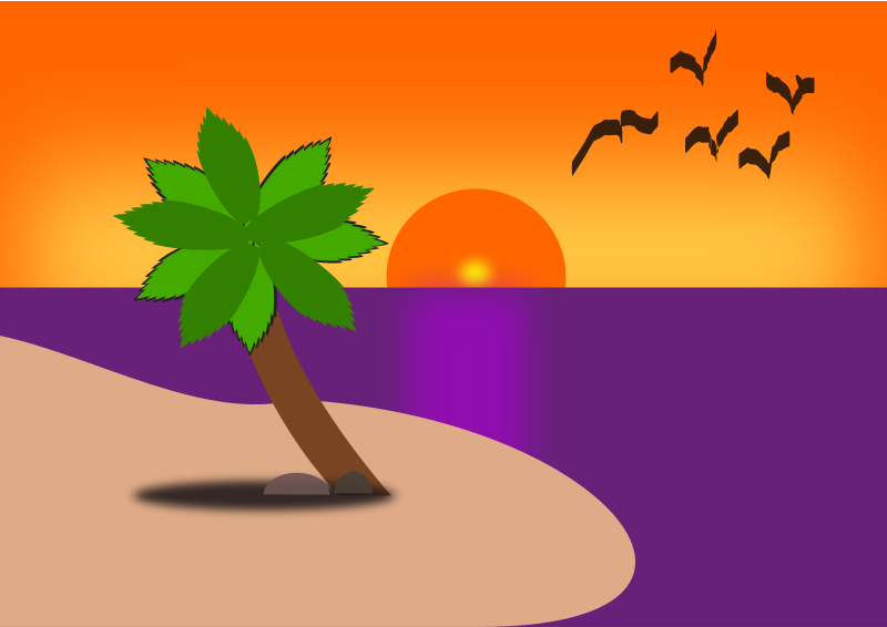 Sunset clipart sunset scene. Beach by shayaksunbeam birds