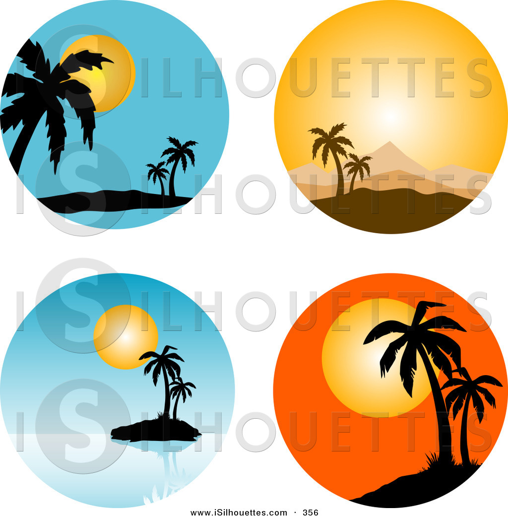Silhouette of a collection. Sunset clipart sunset scene
