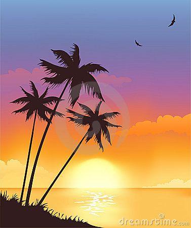 Sunset clipart sunset sky. Stock illustrations