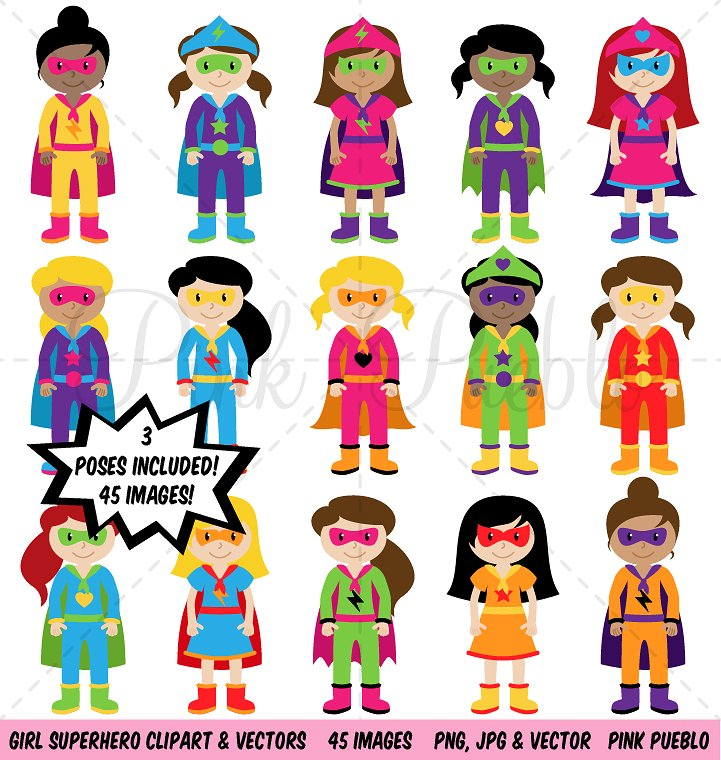 Girl superhero vectors illustrations. Superheroes clipart