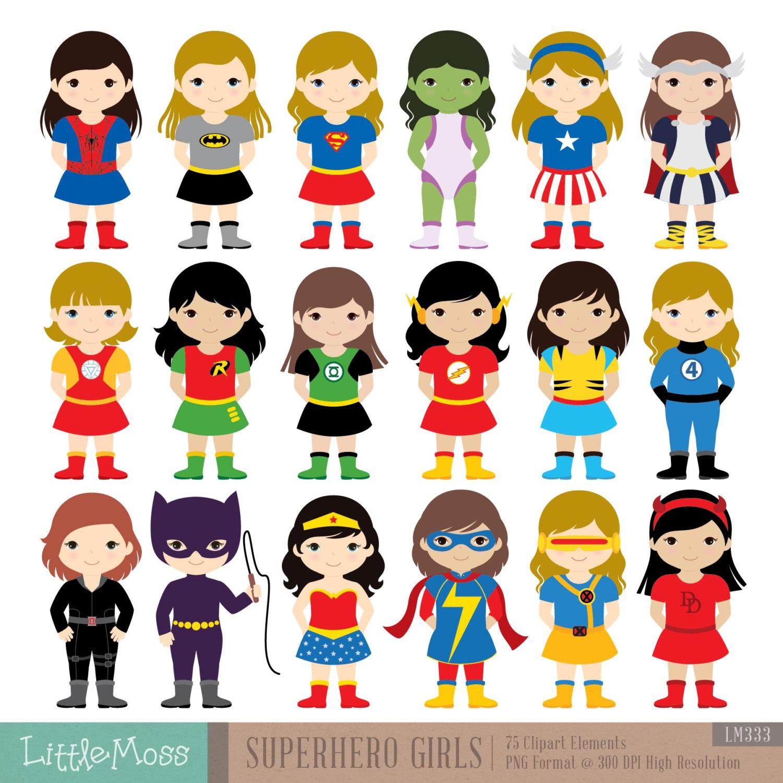 Superheroes clipart.  girls superhero costumes