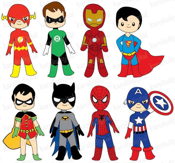 Digital clip art set. Superheroes clipart