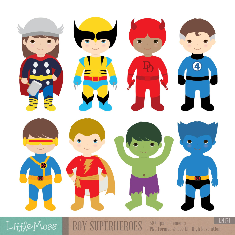 Boys Superhero Costumes Clipart