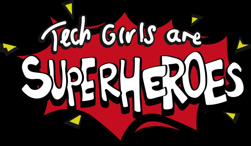 Tech girls are superheroes. Website clipart techy
