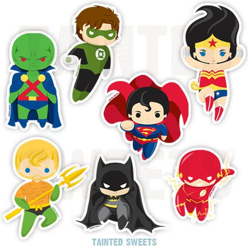 Stickers party ideas . Superheroes clipart justice league