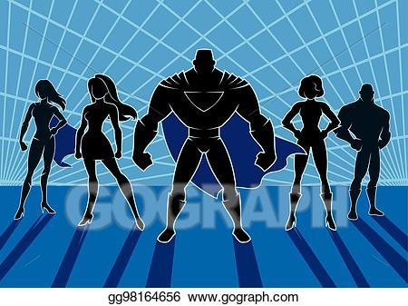 Vector stock clip art. Superheroes clipart superhero team