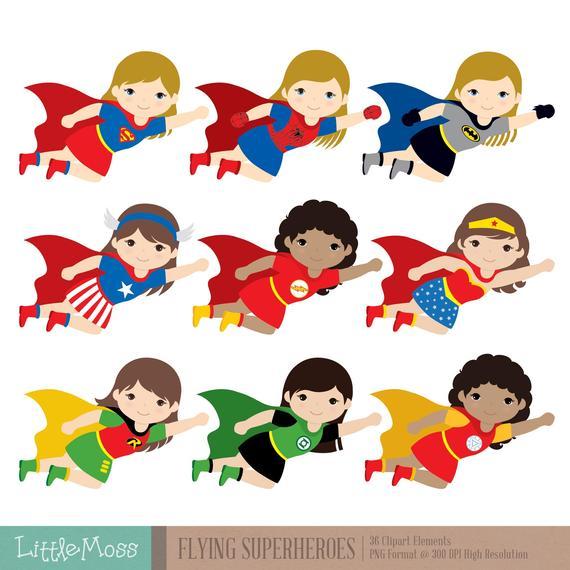Flying kids super hero. Superheroes clipart superhero team