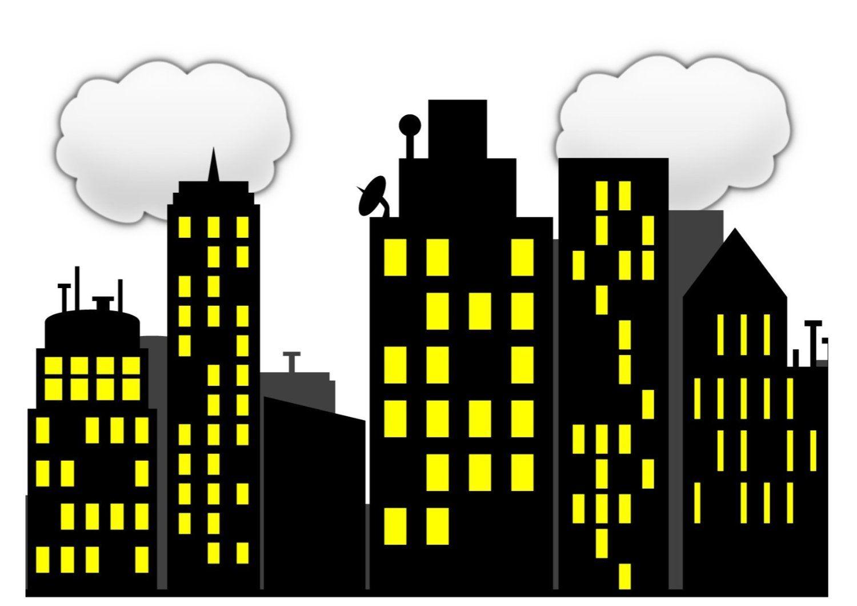 Superhero skyline sky scrapper. Superheroes clipart wallpaper