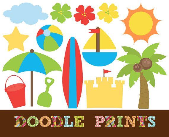 Digital clip art printable. Surfing clipart beach theme