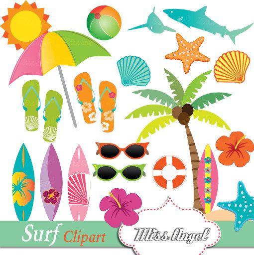 Surfing clipart beach theme. Hawaiian surf summer clip