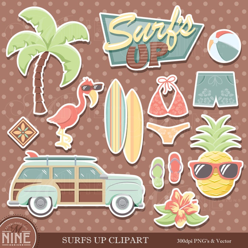 Vintage sticker clip art. Surfing clipart beach theme