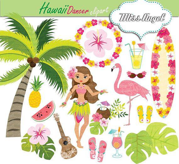 Hawaii dancer surf summer. Surfing clipart luau decoration