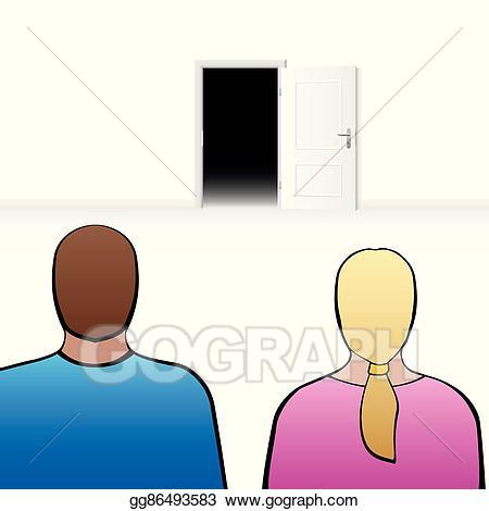 Vector art couple open. Surprise clipart anxiety