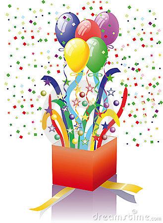 Open gift balloons panda. Surprise clipart balloon