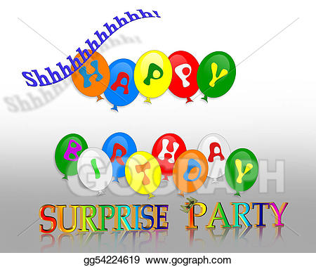 Surprise clipart birthday celebration. Stock illustrations party