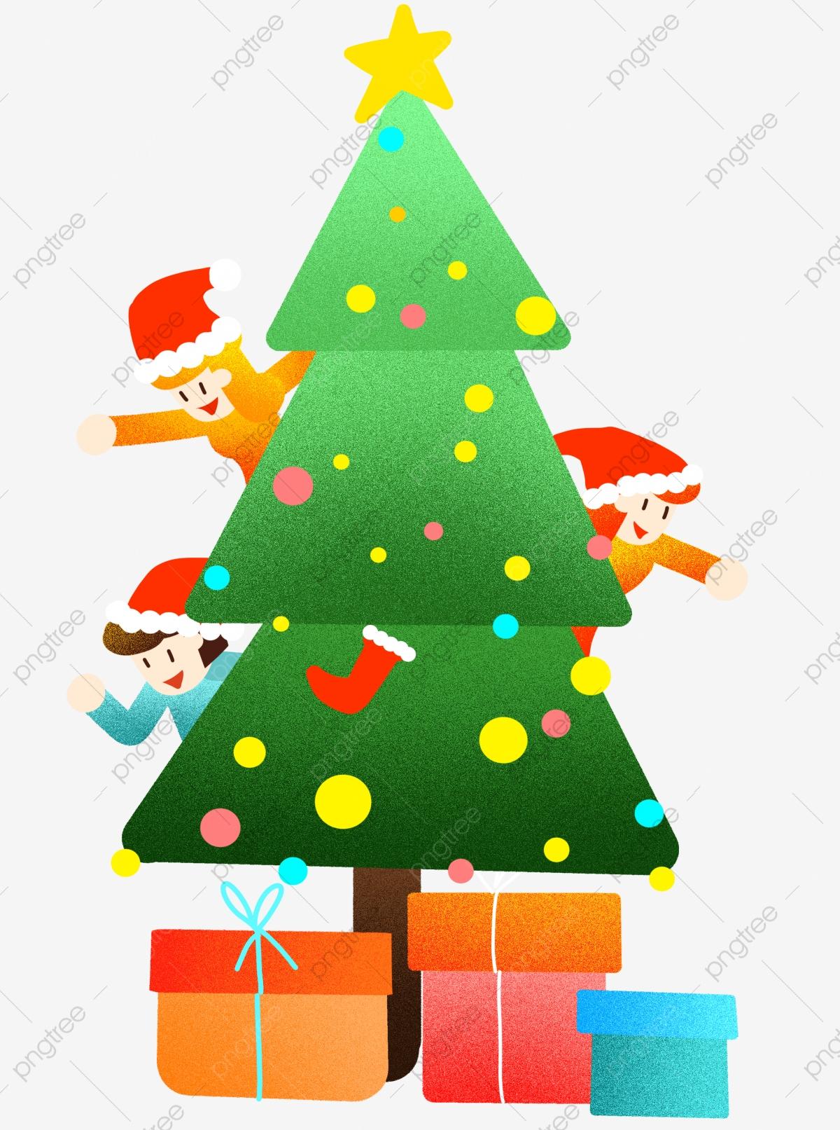 Tree illustration pine gift. Surprise clipart christmas