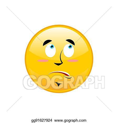 Vector illustration surprised emoji. Surprise clipart nervous