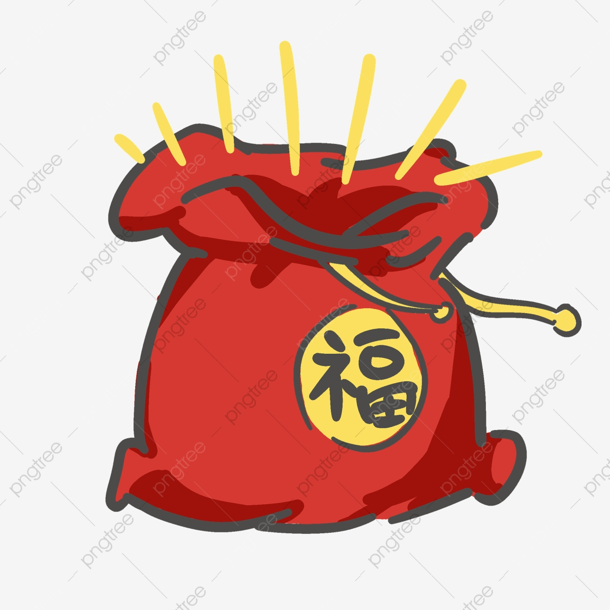Chinese new year decorations. Surprise clipart surprise bag