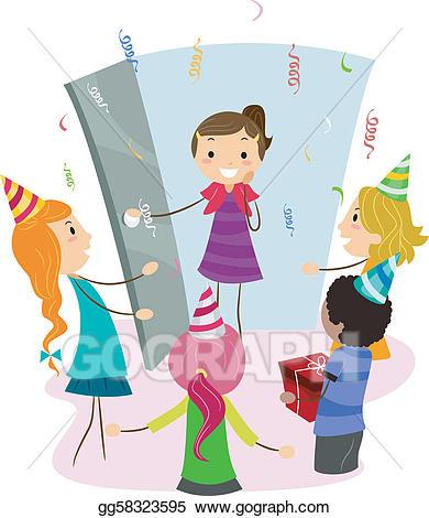 Surprise clipart surprise party. Eps vector stock illustration