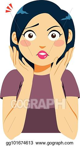 Surprise clipart surprised lady. Eps illustration shocked woman