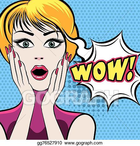 Eps illustration face with. Wow clipart surprised woman