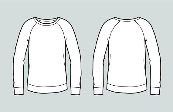 Sweater vector fashion flat. Sweatshirt clipart sketch