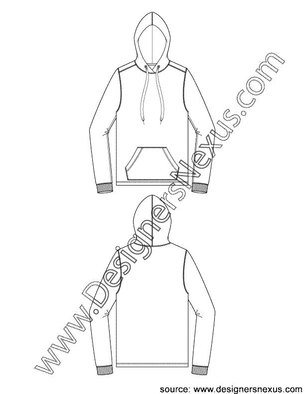 Sweatshirt clipart sketch. Mens pullover hoodie with
