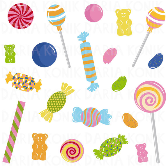 Clip art set sweets. Candy clipart gummy bears