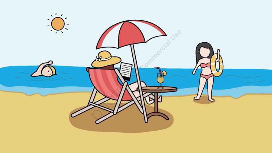 Swimmer clipart beach swimming. Original illustration people in