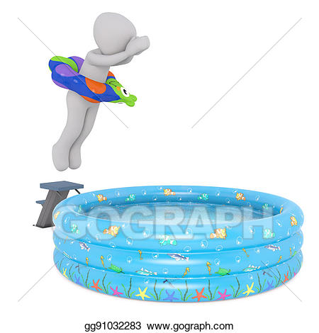 Stock illustration cartoon figure. Swimmer clipart shallow