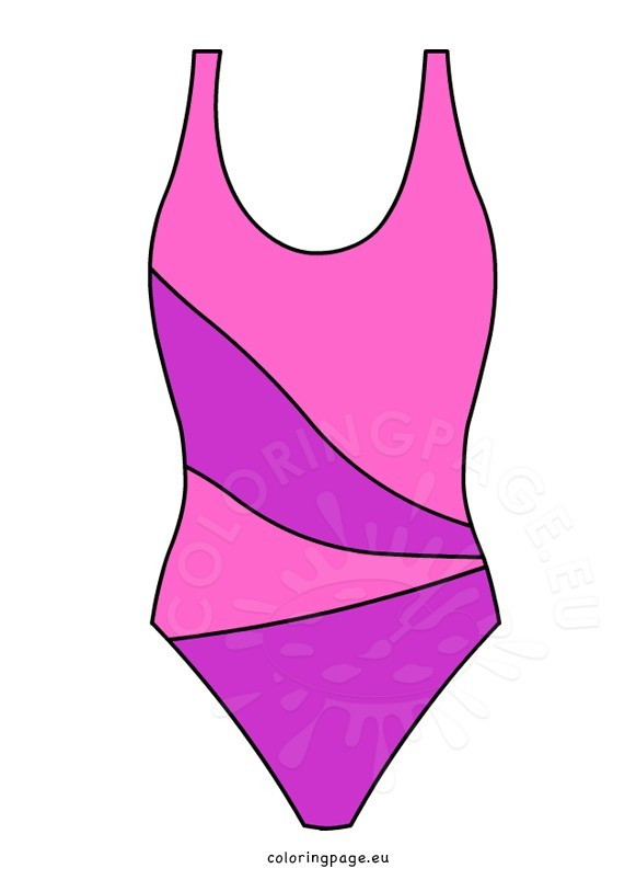 Swimsuit clipart. Pink one piece coloring