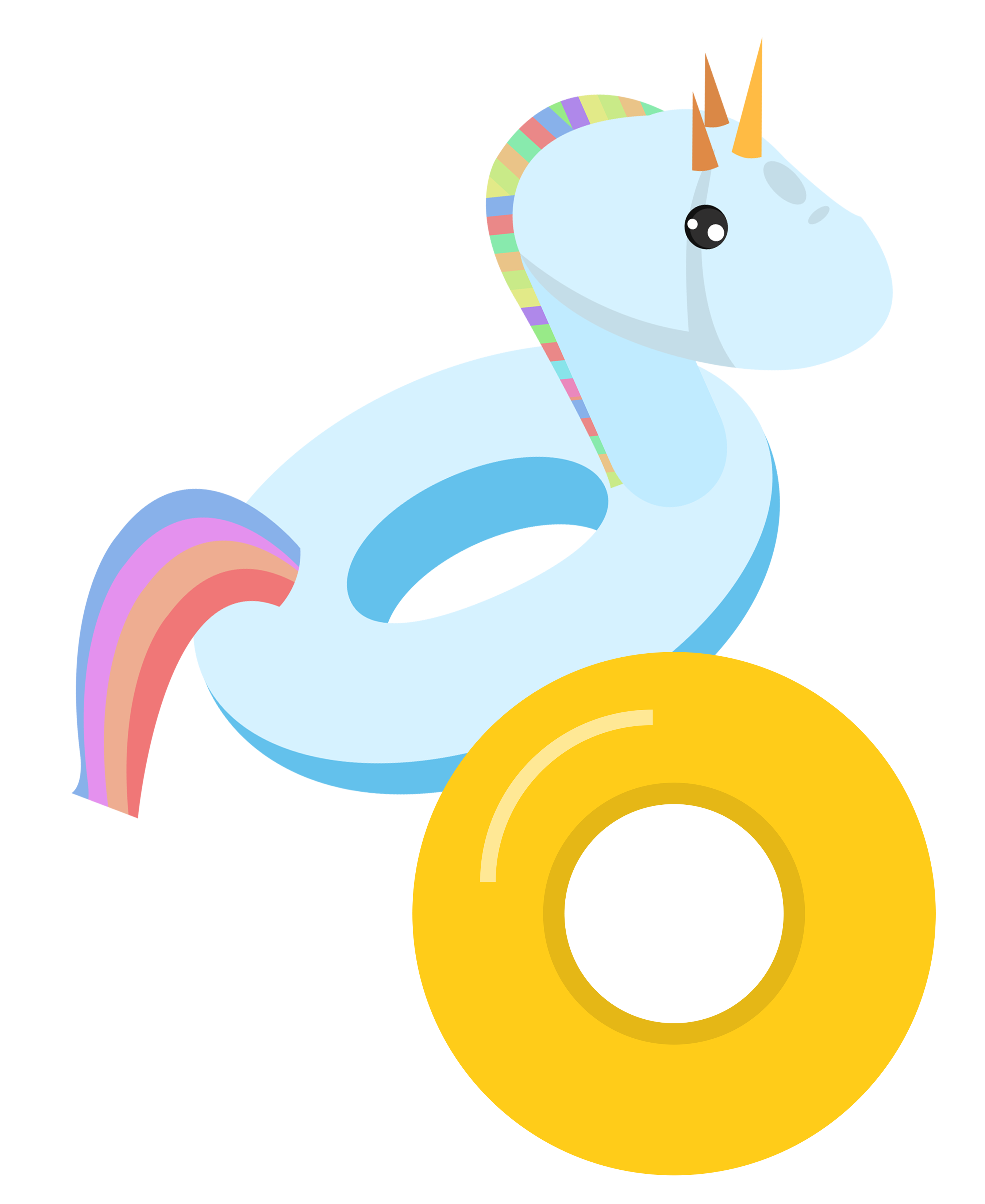 Lifebuoy unicorn swim ring. Swimsuit clipart clip art