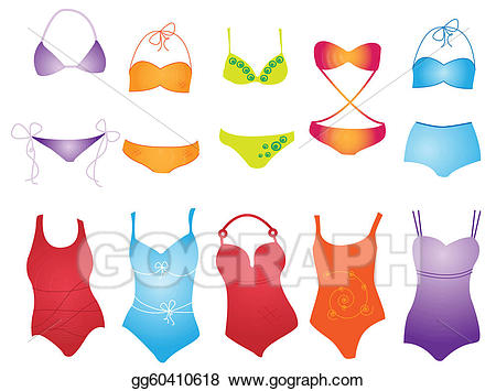 Swimsuit clipart different. Vector illustration gg