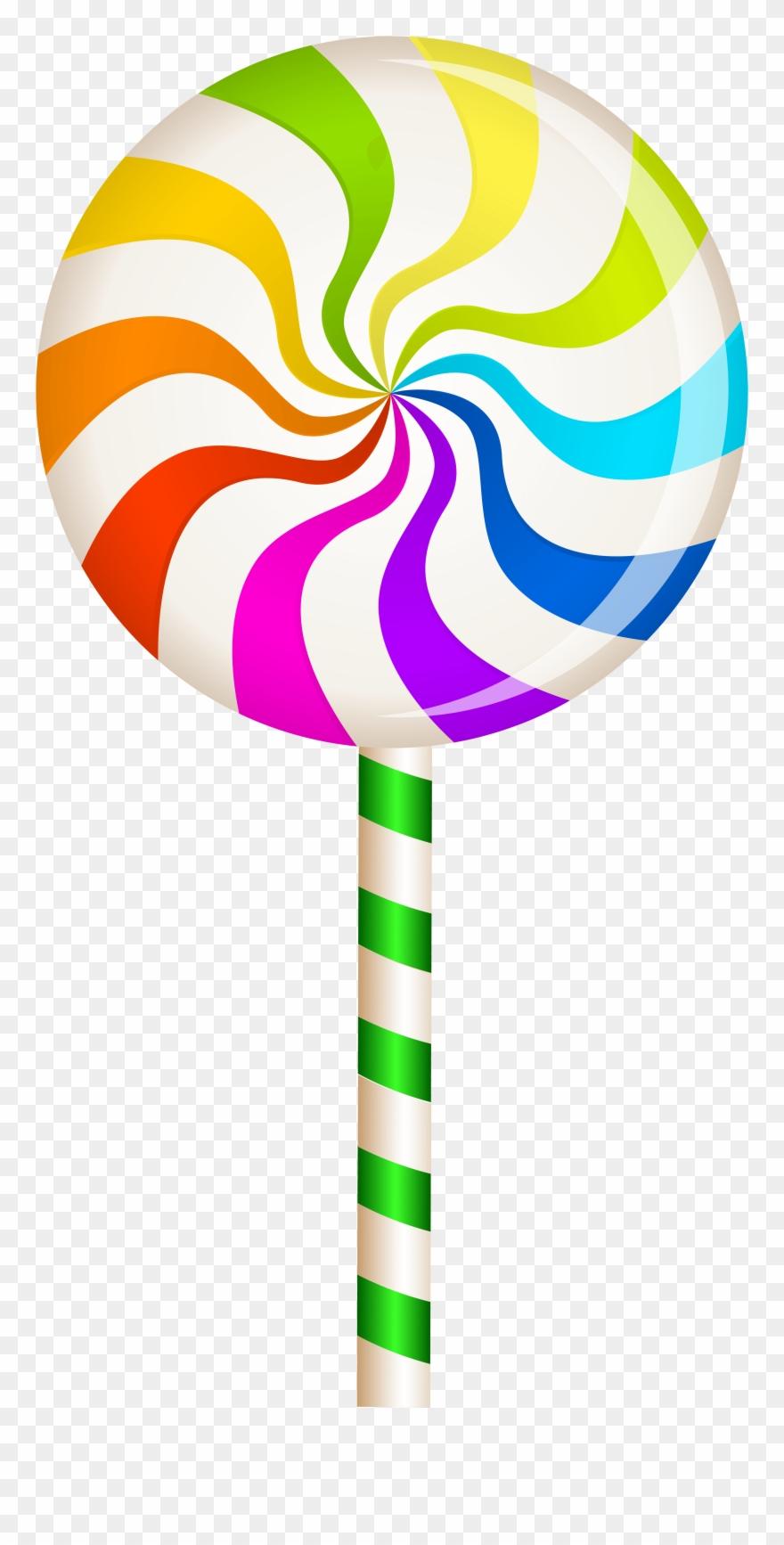 Multicolor lollipop png clip. Swirl clipart candy