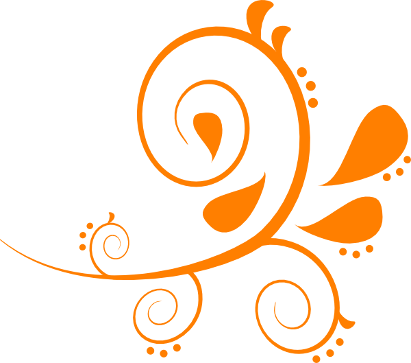 Orange . Swirl clipart single