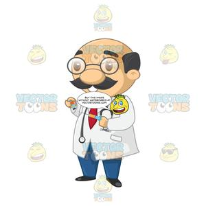 Male doctor holding a. Syringe clipart remedy