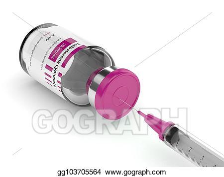 Stock illustration d render. Syringe clipart testosterone