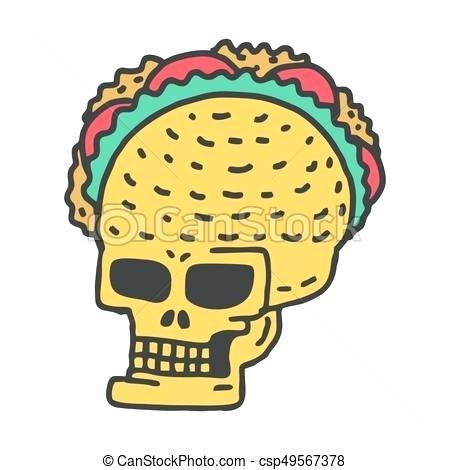 Tacos clipart. Skeleton head clip art