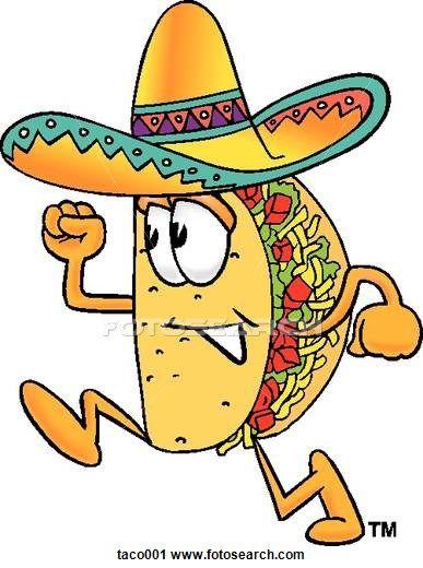 Taco running book fair. Tacos clipart comic