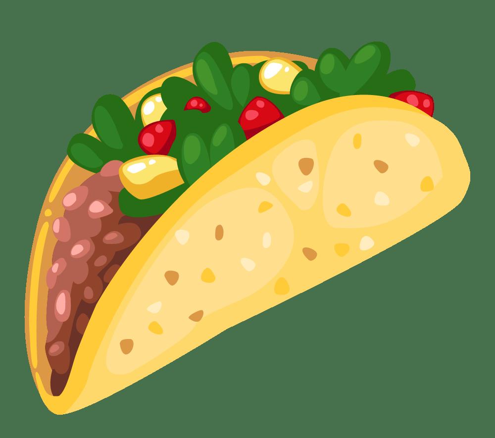 Cartoon taco . Tacos clipart crunchy