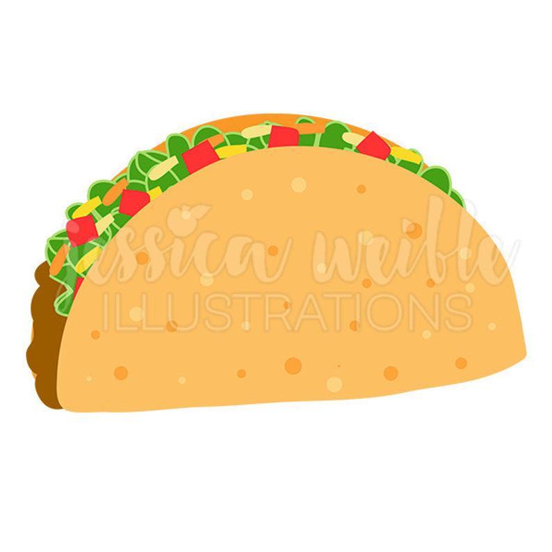 Taco cute digital clip. Tacos clipart crunchy