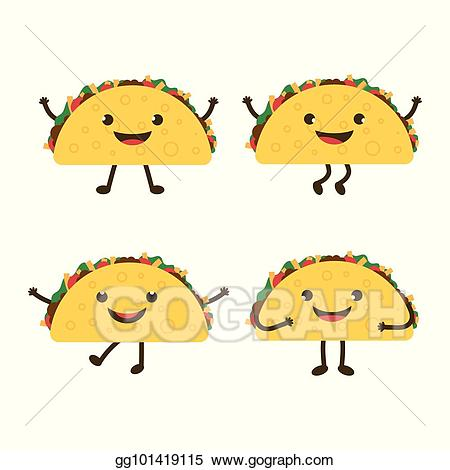 Eps vector set with. Tacos clipart illustration