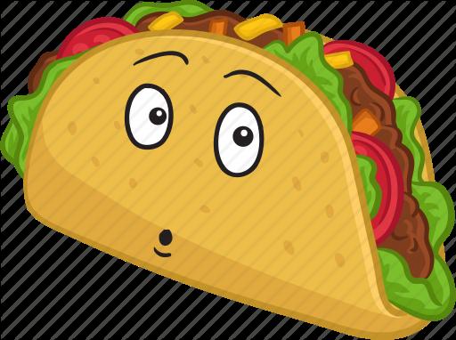 Cartoon taco emoji emoticon. Tacos clipart smile