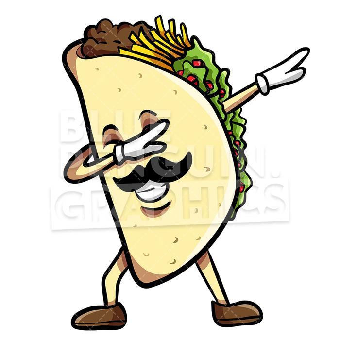 Taco dabbing with sombrero. Tacos clipart vector