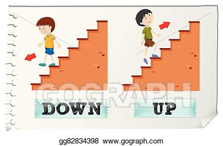 Tall clipart down. Vector opposite adjectives and