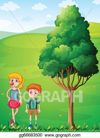 Tall clipart tall brother. Vector illustration a girl