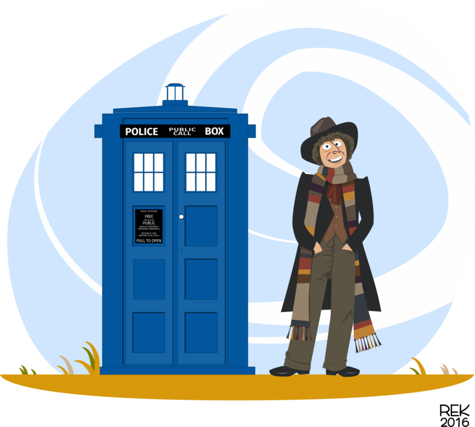 The fourth doctor tom. Tardis clipart vector