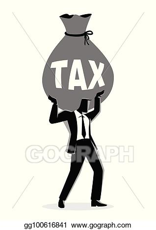 Vector art businessman holding. Tax clipart drawing